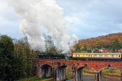 Coalbrookdale Photograph - Steam Locos On Coalbrookdale Viaduct by Paul Williams
