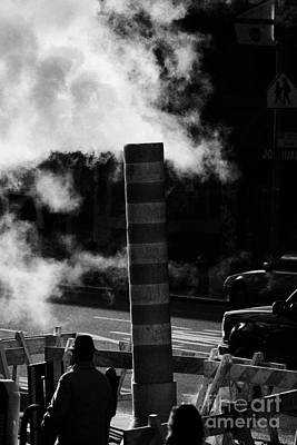 Steam Pipe Vent Stack With Road Works And Pedestrians New York City Art Print by Joe Fox