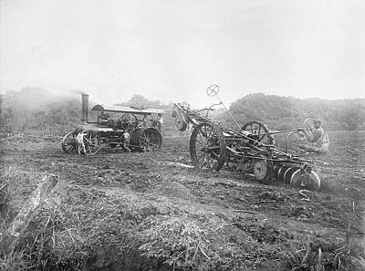 Steam Ploughing Machine Art Print by Library Of Congress