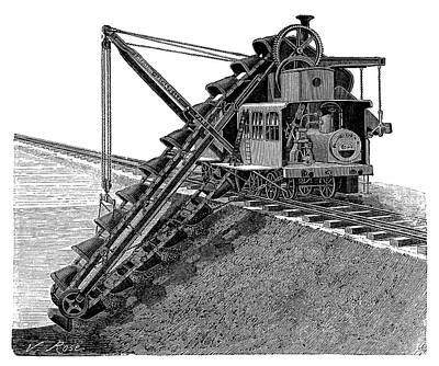 Steam-powered Excavator Art Print by Science Photo Library