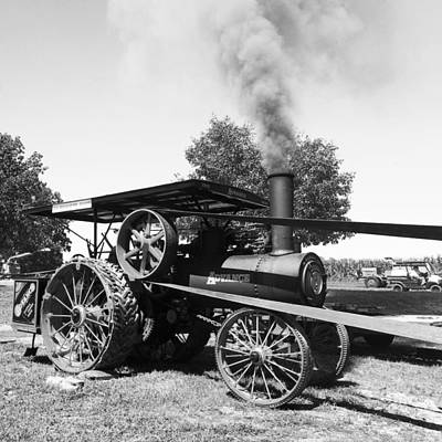 Photograph - Steam-powered Tractor Bw by C H Apperson