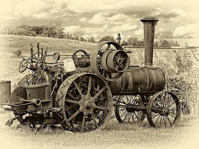 Steam Tractor Photograph - Steam Powered Tractor Sepia by Steve Harrington