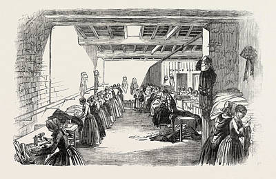 Steam Sewing-machines 1854. A View Of A Portion Art Print