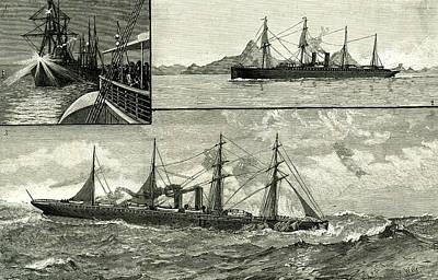 Full Body Drawing - Steam Ship Ormuz Australia To England 1887 On The Voyage by Australian School
