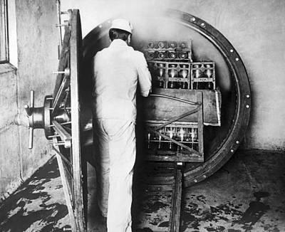 Factory Photograph - Steam Sterilizing Milk Bottles by Underwood Archives