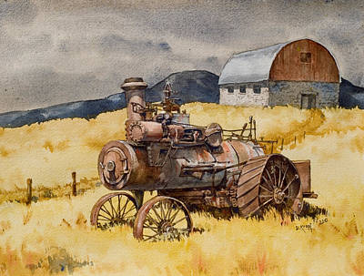 Steam Tractor Painting - Steam Tractor In Virginia City Montana by Dan Krapf
