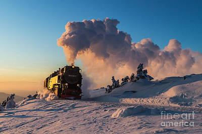 Train Photograph - Steam Train At Sunset by Christian Spiller