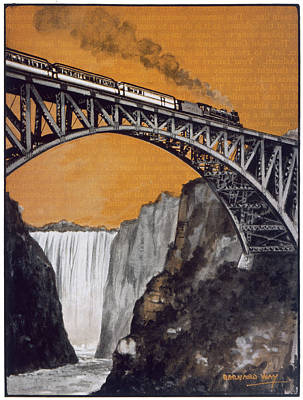 Zambesi River Drawing - Steam Train Crossing The  Bridge by Mary Evans Picture Library