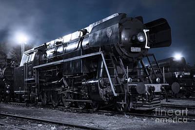 Steam Train In The Night II. Art Print