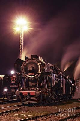 Steam Train In The Night IIi. Art Print