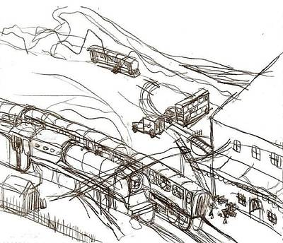 Matthew Joseph Williams Drawing - Steam Train Station by Artists With Autism Inc