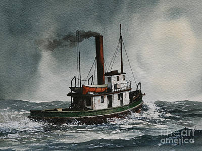 Tugboat Wall Art - Painting - Steam Tugboat Katadin by James Williamson