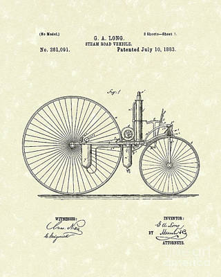 Wheel Drawing - Steam Vehicle 1883 Patent Art by Prior Art Design