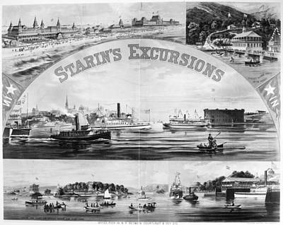 Steamboat Excursions, C1878 Art Print by Granger