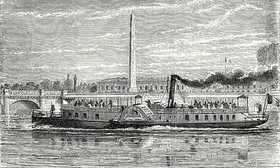 Steamboat Drawing - Steamboat Intended To Serve As A Ferry Service On The Seine by English School