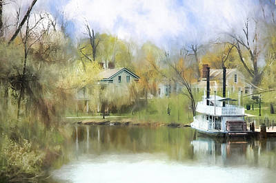 Steamboat Landing In The South Art Print by Ike Krieger