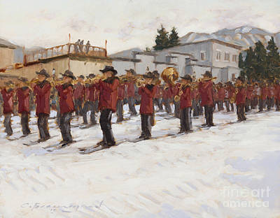 Colorado Ski Painting - Steamboat Ski Band by Chula Beauregard