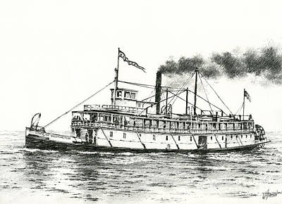 Steamboat Drawing - Steamboat State Of Washington by James Williamson