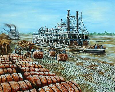 Steamboat Unloading Cotton In Memphis Art Print by Karl Wagner