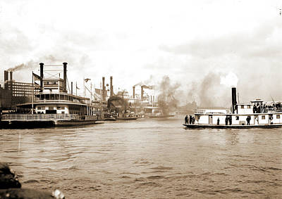 Steamboat Drawing - Steamboats Along The Levee, New Orleans, Rivers by Litz Collection