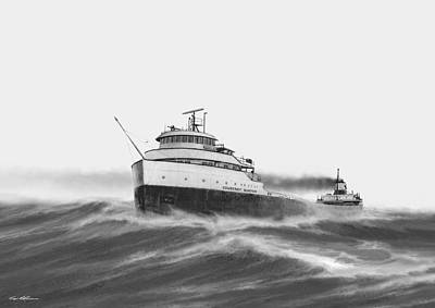 Great Lakes Ship Painting - Steamer Courtney Burton by Captain Bud Robinson