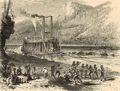 Tennessee River Drawing - Steamer On The Tennessee Warped Through The Suck - 1872 Engraving by Antique Engravings