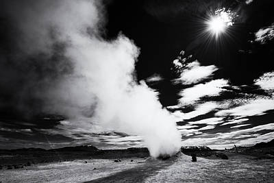 Steaming Fumarole In Iceland Black And White Art Print