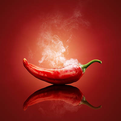 Abstract Ink Paintings In Color - Steaming hot Chilli by Johan Swanepoel