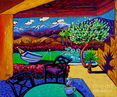 Desert Landscape Painting - Steaming Jacuzzi Joe by Cathy Carey