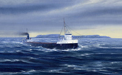 Thunder Bay Painting - Steaming Past A Giant by Captain Bud Robinson