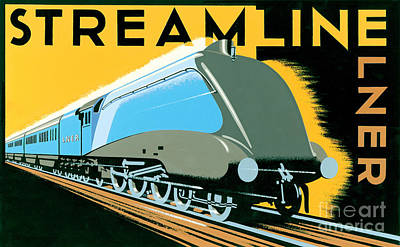 Horizontal Digital Art - Steamline Train by Brian James