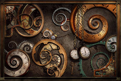 Clocks Photograph - Steampunk - Abstract - Time Is Complicated by Mike Savad