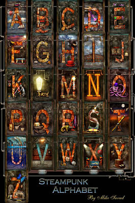 Photograph - Steampunk - Alphabet - Complete Alphabet by Mike Savad