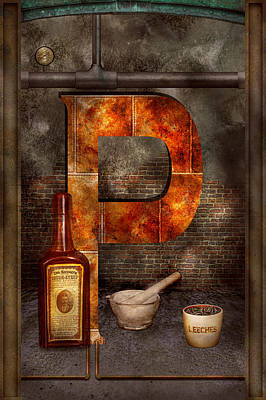 Steampunk - Alphabet - P Is For Pharmacy Art Print by Mike Savad