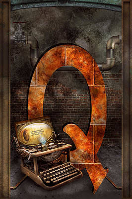 Digital Art - Steampunk - Alphabet - Q Is For Qwerty by Mike Savad