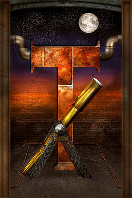 Steampunk - Alphabet - T Is For Telescope Art Print by Mike Savad