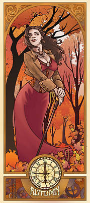 Steampunk Autumn Art Print by Dani Kaulakis