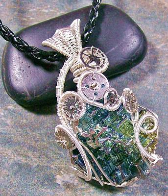 Heather Jordan Jewelry - Steampunk Bismuth Crystal And Silver Pendant by Heather Jordan