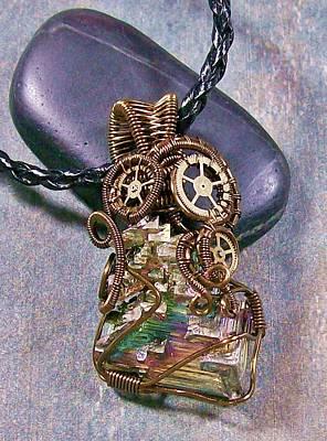 Heather Jordan Jewelry - Steampunk Bismuth Crystal Pendant - Ooak by Heather Jordan