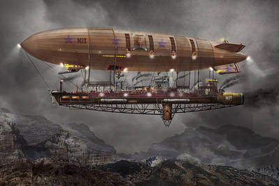 Steampunk - Blimp - Airship Maximus  Art Print by Mike Savad