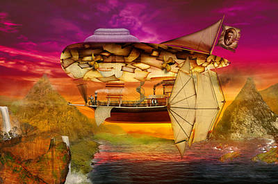 Digital Art - Steampunk - Blimp - Everlasting Wonder by Mike Savad