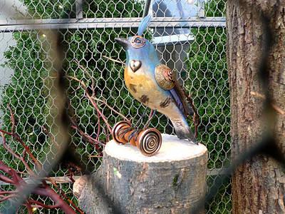 Photograph - Steampunk Blue Tufted Brass Heart Bird by Richard Reeve