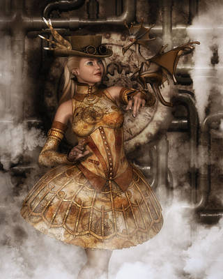 Digital Art - Steampunk Dragon Friend by Rachel Dudley