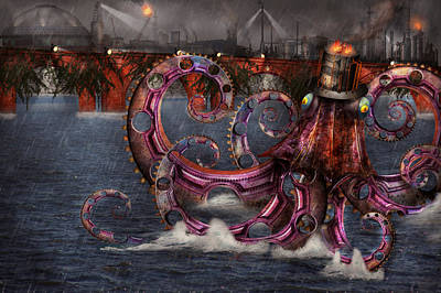 Digital Art - Steampunk - Enteroctopus Magnificus Roboticus by Mike Savad