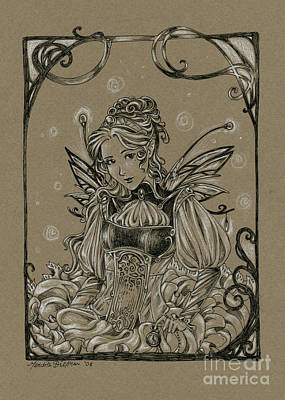Brown Toned Art Drawing - Steampunk Fairy by Meredith Dillman