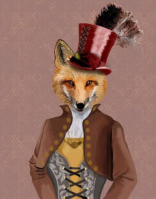 Steampunk Fox Vivienne Fox Print by Kelly McLaughlan