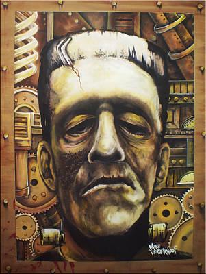 Basil Gogos Painting - Steampunk Frankenstein by Michael Vanderhoof