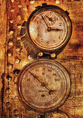 Rivets Photograph - Steampunk - Gauges by Mike Savad