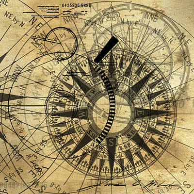 Steampunk Gold Compass Original by James Christopher Hill