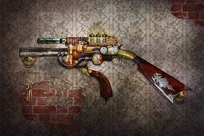Steampunk - Gun - The Sidearm Art Print by Mike Savad